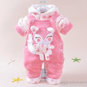 男童装婴儿秋冬装0-1-2周岁女宝宝背带裤婴幼儿童纯棉衣服套装潮