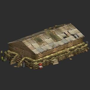 3D游戏二战军事建筑模型素材资源/营房barrack_destr