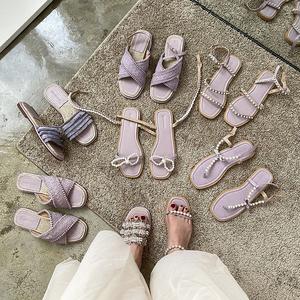 2020年新款拖鞋女夏外穿珍珠小香風紫色系草編漁夫涼拖鞋羅馬涼鞋