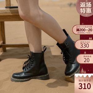 迷失麋鹿 固特异马丁靴女2019新款秋季博士黑色厚底增高经典靴子