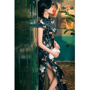 四小姐旗袍2020年新款桑蠶絲氣質長款老上海高端真絲年輕款少女