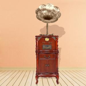 老式电�_复古留声机欧式实木仿古大喇叭黑胶唱片机老式电唱机怀旧客厅摆件