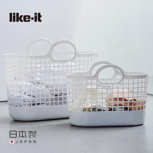 Like-it日本進口手提式髒衣籃衣物收納籃收納筐家用塑料洗衣籃