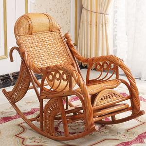 印尼真藤椅子天然藤摇椅老人椅躺椅阳台午睡椅成人逍遥室内摇摇椅