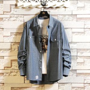 日系潮流大码加肥胖子宽松长袖衬衫男牛仔衣学生外穿韩版百搭帅气