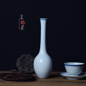 皇妃窯景德鎮特色花器茶席擺件花插家居裝飾手繪青花復古風小花瓶