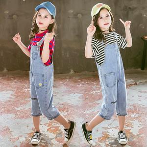女童牛仔背帶褲兒童夏裝小女孩七分褲韓版中大童時髦牛仔褲套裝12