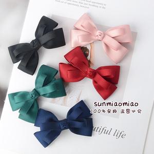 韓國女童邊夾兒童大人發夾寶寶劉海夾純色大蝴蝶結手工可定制發飾