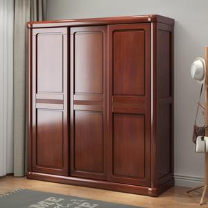 实木衣柜推拉门滑移门卧室柜子2门3门简约现代中式经济型衣橱组合