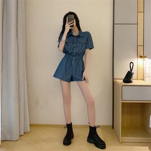 网红连体衣牛仔时髦套装女装牛子连衣工装短裤夏高腰显瘦学生韩版