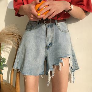 夏季韩版流苏破洞牛仔短裤女大码胖mm学生高腰宽松显瘦阔腿热裤潮