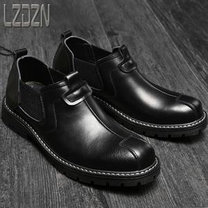 男鞋旅游男士真皮鞋英倫風黑色商務正裝休閑大頭牛皮馬丁短靴大邊