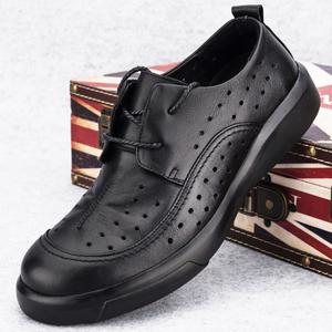 夏季鏤空透氣男鞋厚底商務休閑皮鞋皮鞋男真皮2021新品軟皮防臭鞋