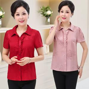 中年妇女士夏季T恤有领子40半截短袖小衫45-50岁妈妈穿上衣服装60