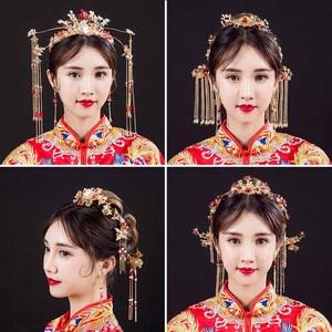 新娘頭飾中式複古裝金色龍鳳褂秀禾服配飾鳳冠霞帔發飾結婚飾品