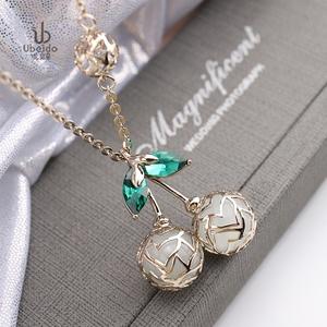 項鏈女長款韓版時尚簡約百搭水晶櫻桃吊墜挂件氣質毛衣挂鏈裝飾品