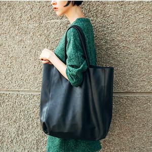 明星同款托特包休閑單肩超大包包歐美頭層牛皮購物袋簡約軟皮女包