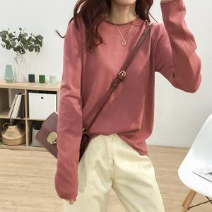 設計感針織衫T恤女秋冬款新款韓版寬松百搭很仙套頭打底衫上衣潮