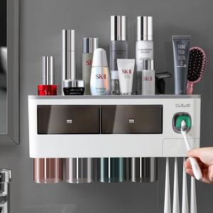 牙刷置物架刷牙杯漱口吸壁式衛生間免打孔壁掛網紅收納盒牙具套裝