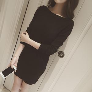 2016秋装韩版新款一字领长袖修身显瘦针织打底连衣裙女包臀打底衫