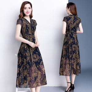 夏季連衣裙2019新款韓版修身顯瘦中長款過膝氣質復古印花雪紡裙子