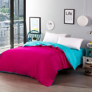 全棉布粉红色灰色绿色黄色玫红色天蓝色被套被罩200x230 单件纯棉