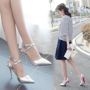 2019春夏季新款包头浅口单跟鞋银色高跟鞋一字扣带时尚百搭女凉鞋