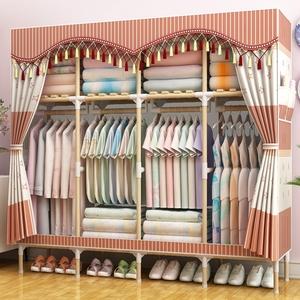 家用出租房用衣柜简易布衣柜网红实木组装布艺收纳布柜橱现代简约