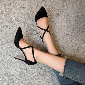 春夏尖頭職業高跟鞋學生百搭交叉綁帶涼鞋性感細跟瘦腳女單鞋8CM