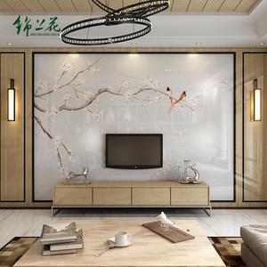 新中式现代电视背景墙瓷砖微晶石简约影视墙不锈钢装饰造型玉兰图片