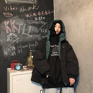 冬季双面穿工装棉服女ins港风原宿风短款潮韩版宽松bf学生面包服