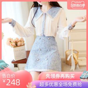 春季款甜美娃娃領雪紡襯衫上衣兩件套洋氣毛呢釘珠短裙小香風套裝