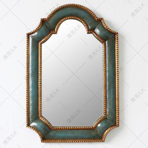 0.9米玄关镜蓝色地中海风格样板房装饰镜欧美式地中海壁挂油画框