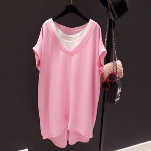 香港2020夏新款寬松ins潮V領T恤兩件套寬松大碼短袖中長款女裝