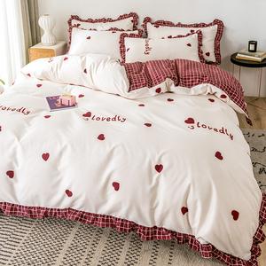 公主風床上四件套網紅款ins床單被套少女心單人雙人床笠床上用品