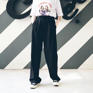 泡菜的店 夏薄款西裤显瘦黑色休闲裤直筒宽松?#31995;?#35044;垂感西装裤女