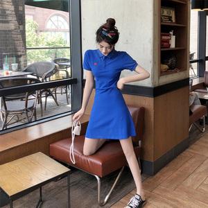 裙子仙女超仙森系日系溫柔風法式收腰顯瘦氣質復古polo連衣裙女夏