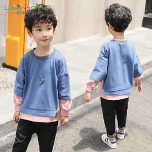 男童卫衣2018秋装新款6儿童7长袖8套头9韩版10潮款11岁假两件上衣
