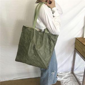 特卫强杜邦纸袋定做军绿水洗复古牛皮纸袋订制撕不烂帆布包定制