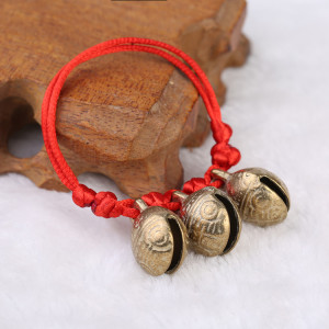 大小可调节大号虎头铜铃铛红绳手链脚链 婴儿宝宝儿童学步响铃