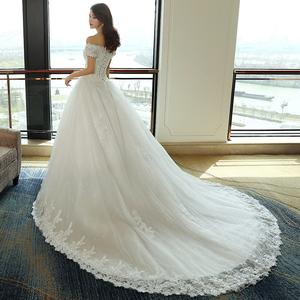 2017新款新娘婚纱一字肩韩版公主齐地修身显瘦结婚长拖尾女王范