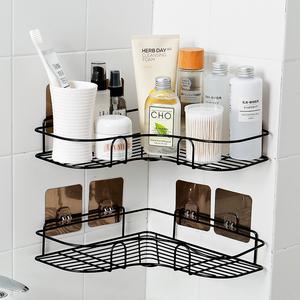 浴室免打孔轉角置物架衛生間洗漱架廁所吸壁式三角架廚房壁掛收納