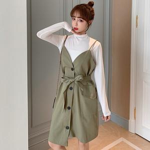 秋冬装新款大码女装韩版胖妹妹长袖打底衫女系带吊带连衣裙两件套