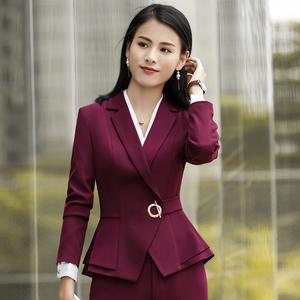 春季新款女式长袖小西装外套修身气质白领职业套装黑色荷叶边下摆