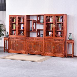 实木仿古书柜书架组合 中式榆木雕花陈列架 储物柜文玩古董架特价
