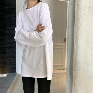 白色打底衫女春季2020新款長袖內搭上衣韓版寬松洋氣黑色圓領T恤