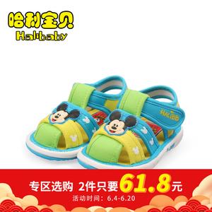 哈利宝贝童鞋 宝宝布面卡通凉鞋0-2岁婴儿透气学步鞋夏防滑叫叫鞋图片