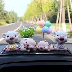 車載車內飾品擺件創意可愛搖頭網紅小豬男女車上汽車擺件高檔內飾