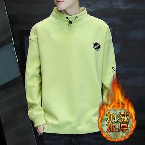 加绒卫衣男半高领绿色个性嘻哈中学生加厚保暖防风打底衫潮牌外套