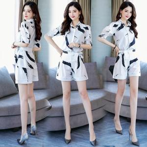 潮流搭配夏装新款女装矮个子夏季气质2o19连体裤洋气短裤时尚套装